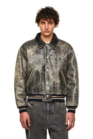 DieselXDiesel leather varsity jacket