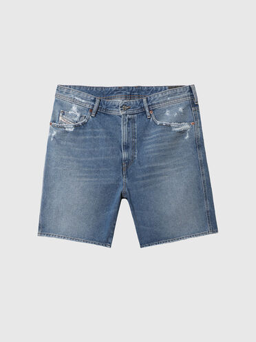 Denim shorts with abrasions on pockets