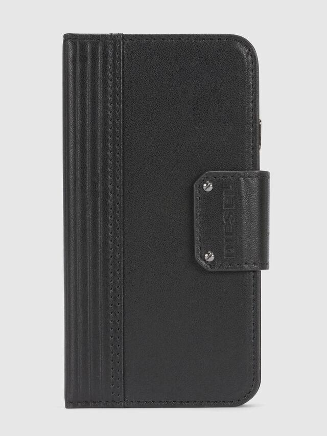 Diesel - BLACK LINED LEATHER IPHONE 8/7 FOLIO, Black - Flip covers - Image 3