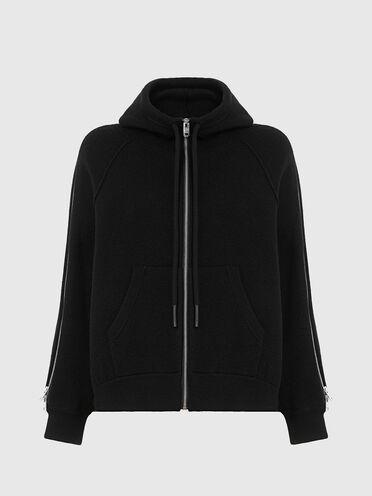 Knitted zip-detailed hoodie