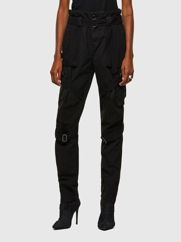 Belted cargo pants in twill and canvas