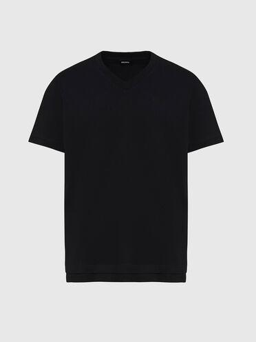 V-neck T-shirt with double hem