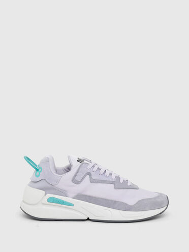 Sneakers in nylon, leather and suede