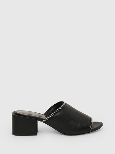 Mid-heel mules with zip detail