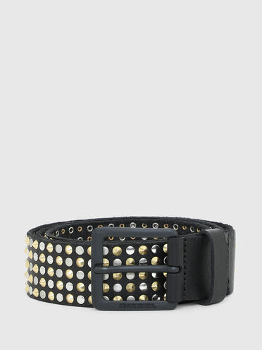 Leather belt with metal rivets
