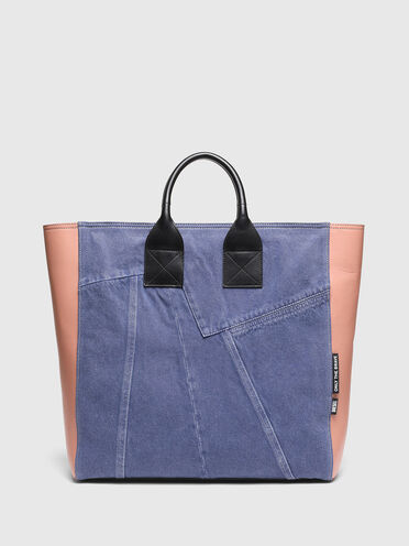 Large shopper in denim and leather