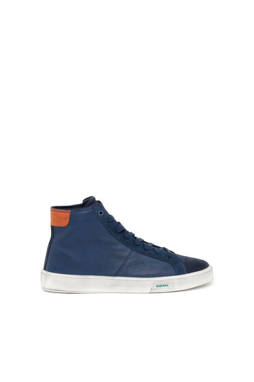 High-top sneakers in tumbled leather