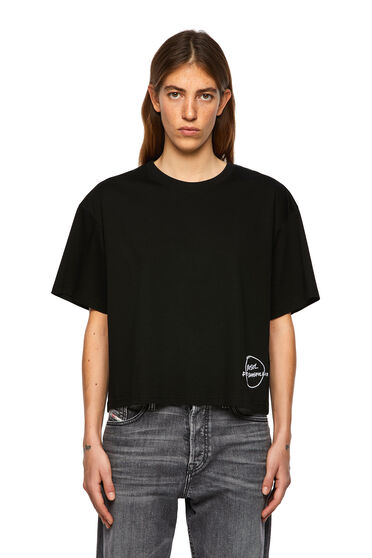 T-shirt with embroidered hem