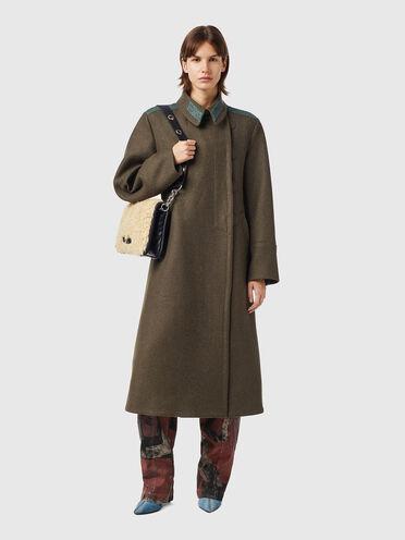 Military coat in wool-blend felt