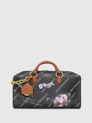 Textured travel bag with graffiti print