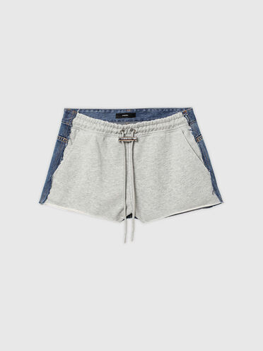 Hybrid shorts in denim and sweat fabric
