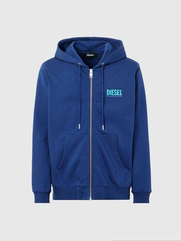 Zip-up hoodie with logo prints