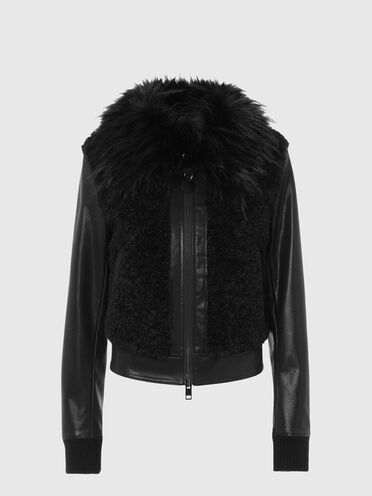 Padded jacket in faux leather and teddy