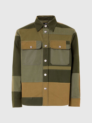 Patchwork shirt in mixed fabrics