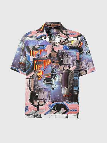 Camp-collar shirt with all-over print