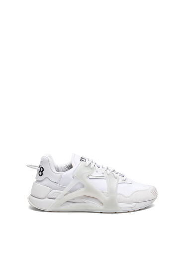 Layered sneakers in nylon and leather
