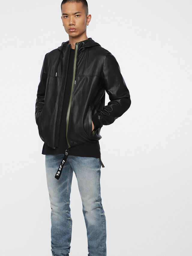 Diesel - L-TECH, Black - Leather jackets - Image 1