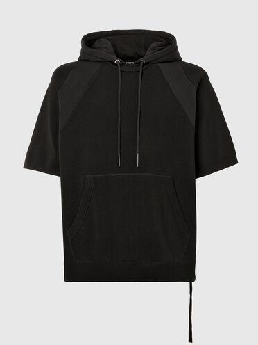 Short-sleeve knit and fleece hoodie