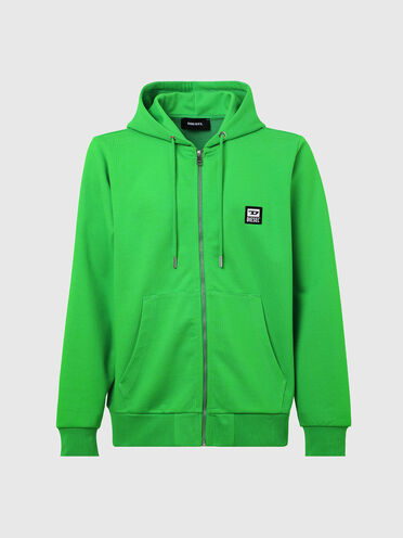 Zip-up hoodie with D logo patch