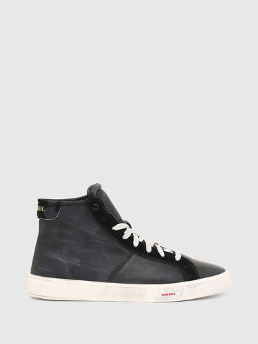 High-top sneakers in treated leather