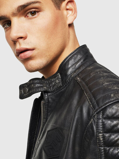 Diesel - L-ROURKE, Black/Red - Leather jackets - Image 5