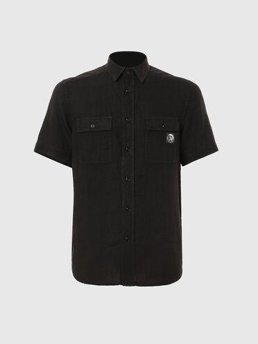 Garment-dyed shirt in linen