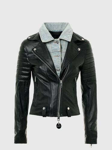 Biker jacket with hybrid construction