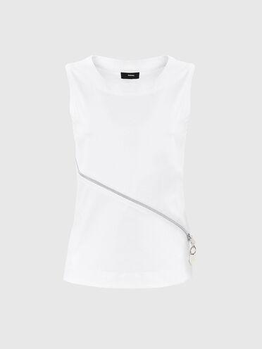 Zip-detailed top in mercerised cotton