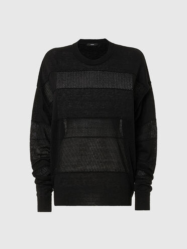 Linen pullover with knit panels