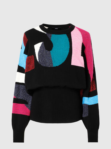 Compact-knit pullover with logo intarsia