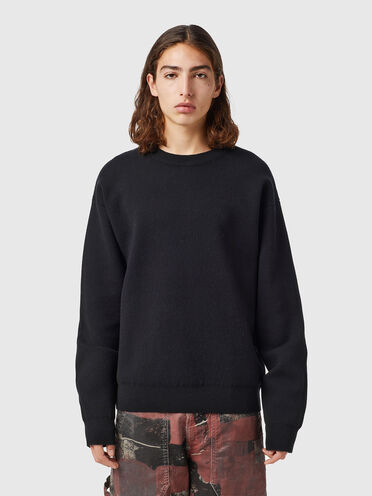 Compact pullover with logo intarsia