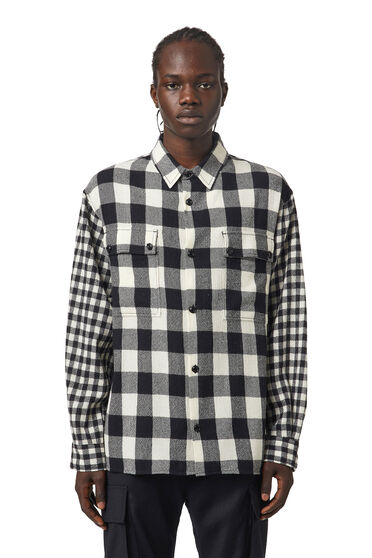 Check shirt in virgin wool flannel