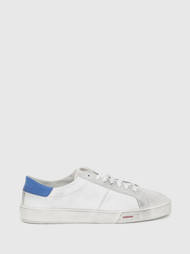 Low-top sneakers in tumbled leather