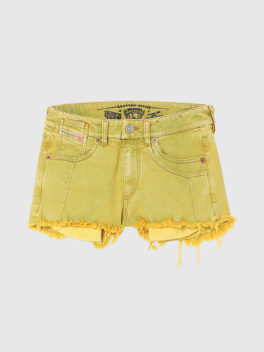 Denim shorts with marble effect