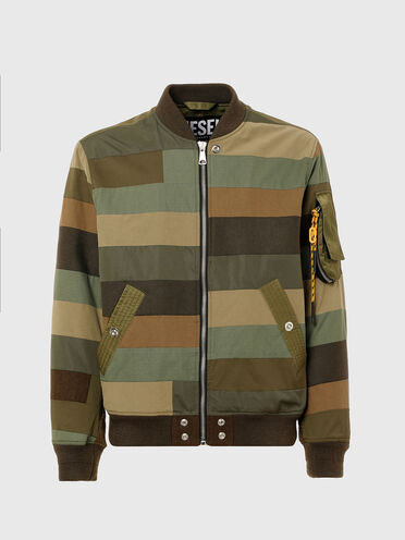 Bomber jacket with striped patchwork