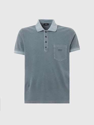 Acid-wash polo shirt