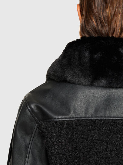 Diesel - L-CELIA-TEDDY, Black - Leather jackets - Image 5
