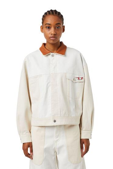 Cropped trucker jacket in patchwork JoggJeans®