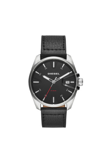 MS9 Chrono black watch with leather strap, 44 mm