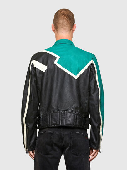 Diesel - L-PARKS, Black/Green - Leather jackets - Image 2