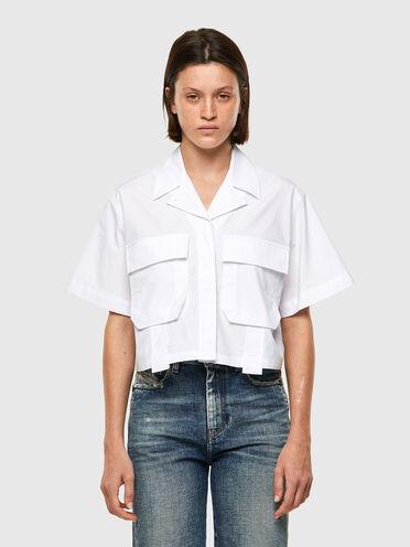Military shirt in cotton poplin
