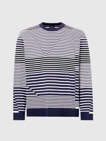 Pullover with irregular stripes