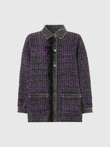 Snap-detailed shirt in bouclé and denim