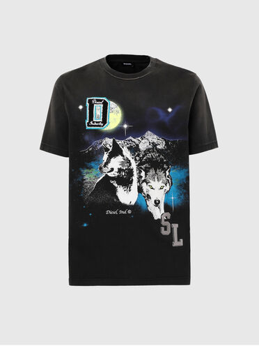 T-shirt with wolf print and DSL logo