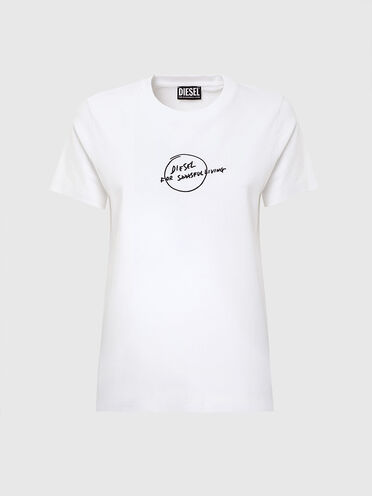 T-shirt with scribbled logo print