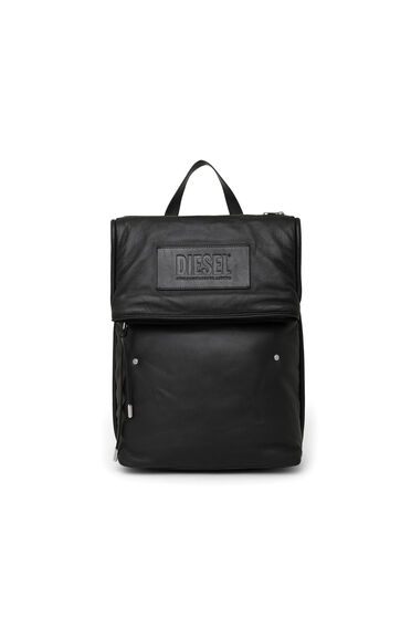 Double-size backpack in padded leather