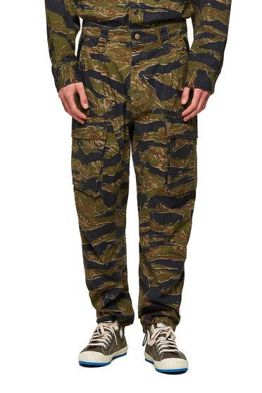 Cargo pants with tiger-camo print