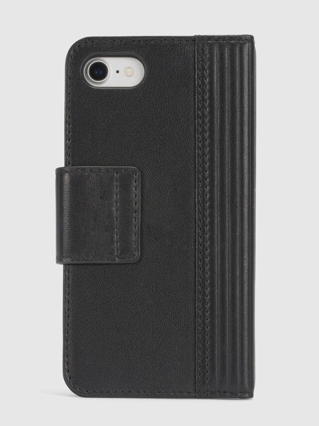 Diesel BLACK LINED LEATHER IPHONE 8/7 FOLIO, Black - Flip covers - Image 4