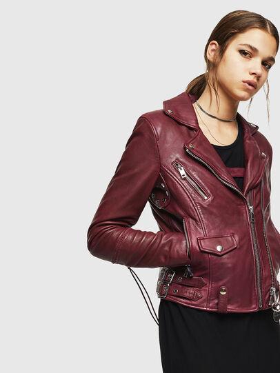 Diesel - L-SINYA-A, Bordeaux - Leather jackets - Image 5