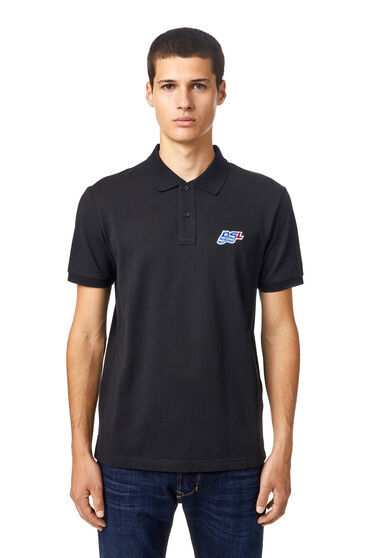 Polo shirt with DSL wave patch